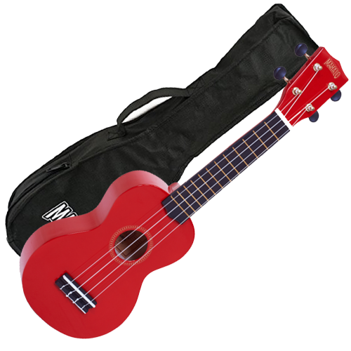 Mahalo Ukulele in Red Rainbow Series Soprano Ukulele MR1RD